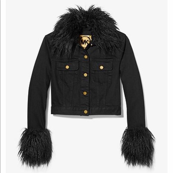 Michael Kors Faux Fur Trim Denim Jacket